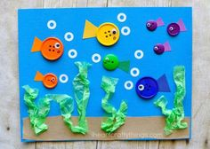 Cute paper fish craft for kids, ocean crafts for kids, summer kids craft, fish kids crafts, fun paper crafts and preschool craft. Button Crafts For Kids, Summer Crafts For Kids, Fall Crafts, Art For Kids, Arts And Crafts, Summer Kids, Crafts With Buttons, Simple Kids Crafts, Quick Crafts