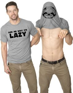 Ask Me Why I'm Lazy T Shirt Funny Flipup Sloth Shirts: Clothing *Click image to check it out* (affiliate link)