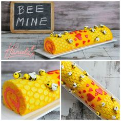 Bee Mine Valentine's Day Cake Roll by Haniela // #14deFebrero #cakeRoll #abejitas