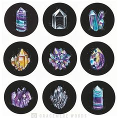 Calling out all my crystal lovers! Remember all the crystals I painted last year on the road trip? Well I thought it'd be fun to turn some of them into stickers or prints. But I'm finding it challenging to condense the bunch to my favorite 4. So which ones do you love? Row 1Fluorite 1 Phantom Quartz Angel Aura Row 2:Citrine Aura Cluster Labradorite Row 3Amethyst Quartz Cluster Fluorite 2