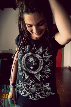 HEY SUNSHINE woman black tshirt spiritual new by myPositiveVibes, $24.00