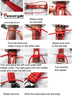 I finally found a knife wrap that I really like. Outside of the turks head knot variants, there are few techniques that I find appropriate for making paracord knife wraps. I was thrilled to find an image of a knife wrap that David Hopper made. Survival Food, Survival Tips, Survival Skills, Survival Knife, Wilderness Survival, Outdoor Survival, Outdoor Camping, Messer Diy, Paracord Knife Handle