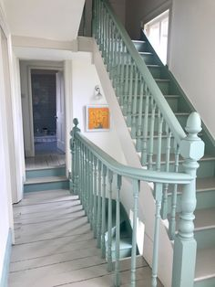 Hallway, stairs and landing decor. Balustrades painted in aquamarine Staircase Banister Ideas, Staircase Remodel, Staircase Design, Painted Banister, Painted Staircases, Landing Decor, Stair Landing, Stair Art, Stair Decor