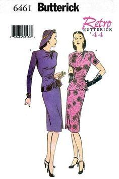 Butterick 6461 Haute Cocktail Dress with Peplum 1999