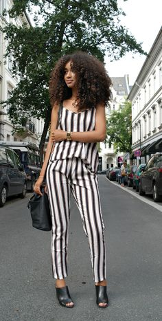 Outfit: Striped Co-Ord Relaxed Pants and Top with Heels Mules and Bucket Bag
