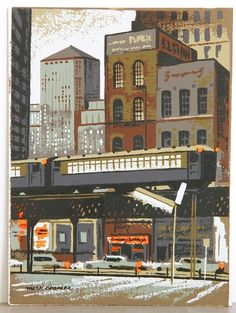 L Train, Chicago Serigraph 1950's For sale: www.midcenturyserigraph.com