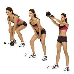 Kettlebell Swing: Do 10-12 reps per set. Three to Four sets. A rest of 60 seconds between sets. Use a 10 lb. or heavier kettlebell.