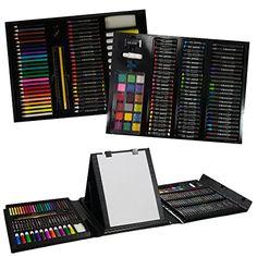 nice 175pc Deluxe Art Set Case Artist Supplies Brush Paper Easel Kids Teens Adults