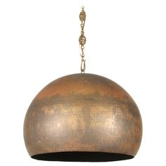 Modernist Mid Century Copper Hammered Pendant Lamp