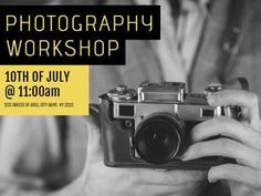 Black yellow photography workshop camera in black and white advertisement of event template.