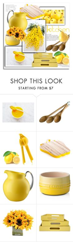 """""""Yellow Kitchen"""" by stylemaven2 ❤ liked on Polyvore featuring interior, interiors, interior design, home, home decor, interior decorating, Jamie Oliver, Seletti, Mario Luca Giusti and Le Creuset"""