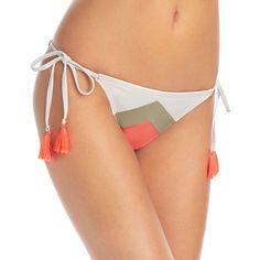 Vince Camuto Camellia Chevron Stripe String Side Tie Bikini Bottom ($53) ❤ liked on Polyvore featuring swimwear, bikinis, bikini bottoms, pop coral, thong bikinis, coral bikini bottoms, color block bikini, side tie bikini bottom and g string bikini