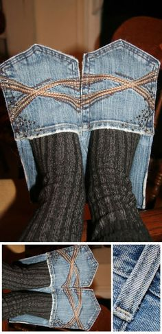 How to Make Denim House Slippers – DIY - This is straight up ghetto but I must admit there have been times when I wish I had slippers and didn't...................