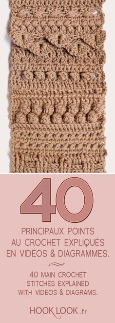 Main crochet stitches explained in videos and diagrams. 40 main crochet stitches explained with videos and diagrams by hooklook.fr et crochet tuto Crochet Baby Mittens, Crochet Diy, Crochet Motifs, Crochet Flower Patterns, Crochet Poncho, Crochet Scarves, Crochet Doilies, Hand Crochet, Crochet Stitches
