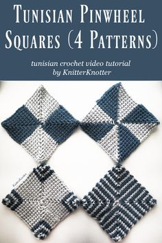 Learn how to make Pinwheel squares (4 patterns) in Tunisian crochet. This technique looks intimidating at first but is very easy to learn. The tutorial includes left and right handed videos and walks you through making all 4 patterns pictured in the image. #knitterknotter #tunisiancrochet #videotutorial #patterncharts #crochetcoasters