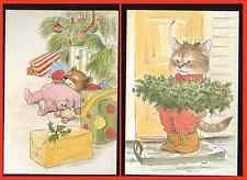 VINTAGE UNUSED CHRISTMAS GREETING CARD LOT OF 2 PAWPRINTS WALLACE TRIPP ARTIST