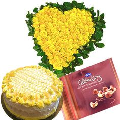 36 Yellow Roses Heart Shape Arrangement 1 Kg Pineapple Cake Cadbury Celebration