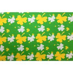 Kuviollinen trikoo (vihreä,keltainen,valkoinen apila) 160cm.  *Muutkin värit käy