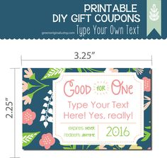 Printable EDITABLE DIY Love Coupons - Gift Coupons, DIY Gift, Instant Gift, Gift Tags, Last Minute Gift, Love Tickets