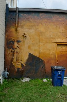 Street Art: Darwin.  This is SO GREAT.  Love how he's sort of hiding up next to the wall.  Love the sepia-tone colors too.  Whoever did this is brilliant.