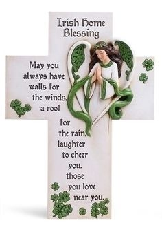 Irish Home Blessing Angel Wall Cross – Beattitudes Religious Gifts