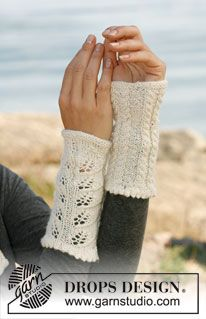"Autumn Leaves - Knitted DROPS wrist warmers with lace pattern and cables in ""Alpaca"". - Free pattern by DROPS Design Fingerless Gloves Knitted, Crochet Gloves, Knit Mittens, Drops Design, Knitting Patterns Free, Free Knitting, Free Pattern, Crochet Wrist Warmers, Hand Warmers"