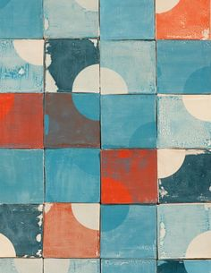 """The Quarter Circle tiles feature, in her words, """"the simple but sharp outline of a quarter circle, only subtly visible against a loosely painted background. Together the quarters enhance each other and emerge from the square tiles, starting a circular life of their own."""" Each tile is 10 square centimeters (or about 4 square inches); £7 each."""