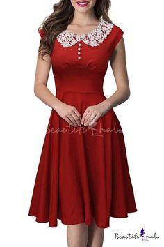 Vintage Lace Neck Cap Sleeve Plain A-Line Swing Midi Dress