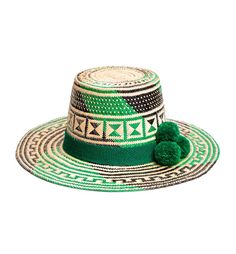 Found on OhLike: Yosuzi Karuya Forest Green and Black Handwoven Hat Painted Hats, Sun Hats For Women, Folk Fashion, Gold Logo, Mixing Prints, Bad Hair, Sale Items, Headpiece, Hand Weaving