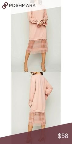 💐GORGEOUS LONG SWEATER DRESS💐 🤝SHOP WITH CONFIDENCE🤝 ⭐A seller you can trust⭐   ❣BRAND NEW ❣BOUTIQUE ITEM ❣FABULOUS LONG SWEATER DRESS WITH TULLE LACE DETAIL.  OMG SO COMFY BUT SEXY AT THE SAME TIME. DUSTY PINK COLORED ❣AVAILABLE SIZES: SMALL, MEDIUM, LARGE   👇OFFERS ARE WELCOMED👇   💎Shine bright And Wear What You Love, You Don't Need A Reason - FirstClassBTQ   summer beach poolside pool party vegas cruise vacation coachella spring break Dresses Long Sleeve