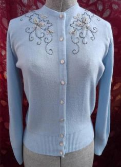 Vintage 1950s Sweater Light Blue Sanforlan Bugle Beads Pearls Princess Pam Cute