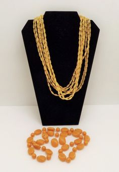Vintage lot Multi-Strand Butterscotch Plastic Lucite Beaded Necklaces by In2vintagejewelry2 on Etsy