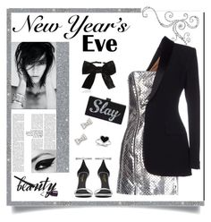 """""""Silver Tuxedo Style'"""" by dianefantasy ❤ liked on Polyvore featuring Yves Saint Laurent, Jean-Paul Gaultier, Kevin Jewelers, Marc by Marc Jacobs, polyvoreeditorial and nyestyle"""