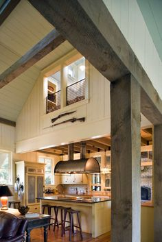 kitchen — Barn-style home on South Carolina's Spring Island