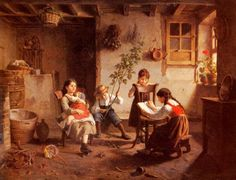 The Reading Lesson by Paul Seignac, 1826-1904, French.