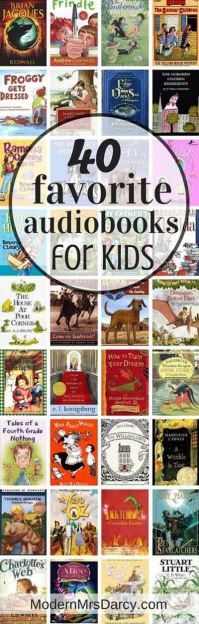 40 favorite audiobooks for kids. Adults will enjoy these too so you can listen together. Best audiobooks for kids: perfect for kids exhausted from the pool or long summer road trips. Sharing my family's favorites, and yours. Good Books, Books To Read, My Books, Teen Books, Library Books, Library Corner, Audio Books For Kids, Childrens Books, Kids Reading