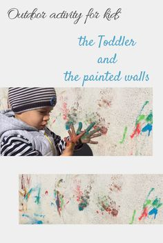 Children like to have the hands dirty and to make drawings on the walls. Good idea for an outddoor activity if you have a wall that needs an embellishment. How To Make Drawing, Drawing For Kids, Toddler Activities, Cool Kids, Embellishments, Toddlers, Graffiti, Walls, Children