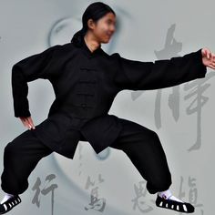 Asia-Sale Best Tai Chi, Kung Fu Clothing & Equipment Shop - Black Hemp and Linen Wudang Tai Chi Uniform with Open Arms for Men and Women