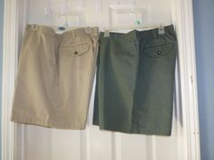 Mens 42w 2pairs TOWN CRAFT easy care . KHAKI green & BEIGE dressy shorts eu   #TOWNCRAFT #FlatFrontBERMUDA