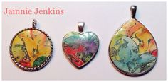 More pendants I made using Tina Holden's Gilded Paths tutorial. FUN! #jainniejenkins #polymerclay #pendants #gildedpaths
