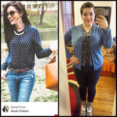 """#ChubbyChique 1-1-2016 #ootd #january2016promptandpin """"BLUE Year's Day"""" Denim and navy and white polka dot inspiration from @sarahkjp"""
