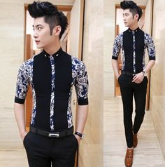 Fashion 2014 Floral Splicing Fancy Dress Shirt Charming Mens Slim Fit Party Club Shirts e-packet Freeshipping $25.88