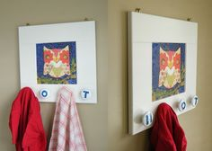 Awesome kids DIY coat hanger made from an old cabinet door!