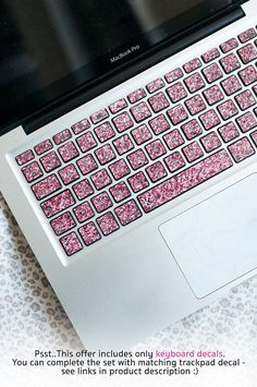 make your home office fancy with this glittering keyboard decal. Custom made for any laptop in any language :) Macbook Desktop, Macbook Keyboard Decal, Computer Case, Laptop Computers, Dell Laptop Skin, Laptop Screen Repair, Laptop Storage, Laptops For Sale, Mac Laptop