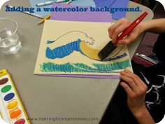 Make waves like Hokusai- adding  a watercolor background. | Harrington Harmonies