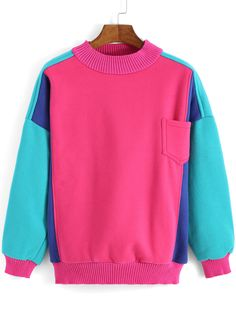 Multicolor Long Sleeve Pocket Loose Sweatshirt  , High Quality Guarantee with Low Price!