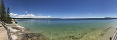 The Panoramic View Of Lake From Boardwalk At West Thumb Geyser Basin, Yellowstone National Park Doesn't Do Justice To Size Or Mountains In Background. [oc] [11118 X 3862]
