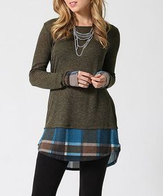 Look what I found on #zulily! Olive & Teal Plaid Layered Tunic #zulilyfinds