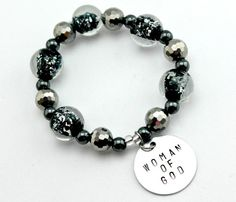 Black Silver Hematite Woman of God Hand stamped bracelet by CICinspireme, $26.00 #womanofGod #jewelry
