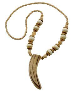 Beige Wood & Coconut Beads / Lead&nickel Compliant / Western Theme / Horne Pendant / Long Necklace
